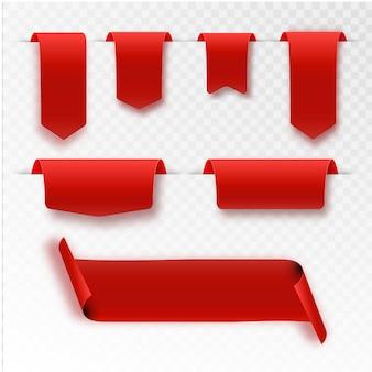 Conjunto de banners de cintas rojas plano aislado