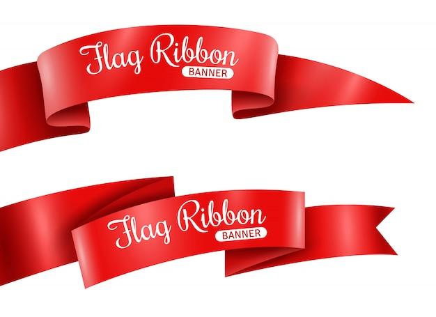 Conjunto de banners de cintas rojas