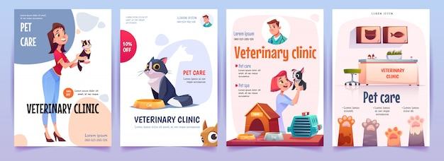 Conjunto de banners de clínica veterinaria. servicio veterinario carteles