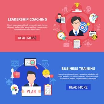 Conjunto de banners de coaching empresarial