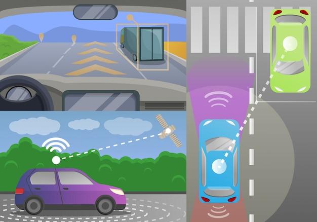 Conjunto de banners de coche sin conductor, estilo de dibujos animados