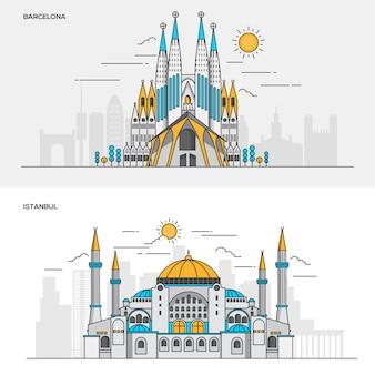 Conjunto de banners de color de línea para la ciudad de barcelona y estambul. conceptos de banner web y materiales impresos. ilustración