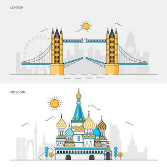Conjunto de banners de color de línea para la ciudad de londres y moscú. conceptos de banner web y materiales impresos. ilustración
