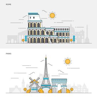 Conjunto de banners de color de línea para la ciudad de roma y parís. conceptos de banner web y materiales impresos. ilustración