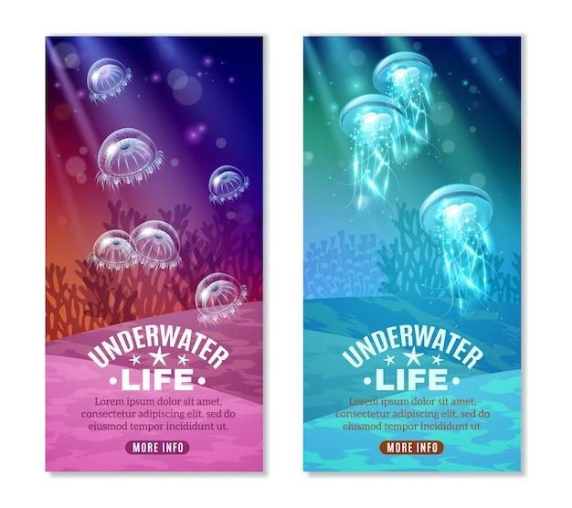 Conjunto de banners de colores bajo el agua