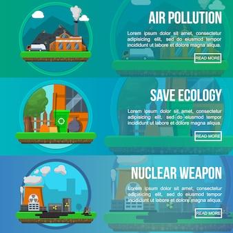 Conjunto de banners de colores de contaminación ambiental