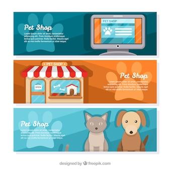 Conjunto de banners de colores para una tienda de mascotas