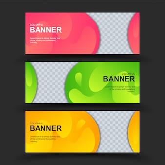 Conjunto de banners coloridos