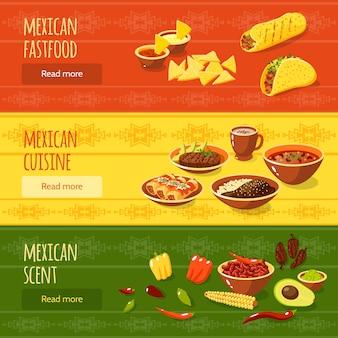 Conjunto de banners de comida mexicana
