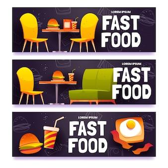 Conjunto de banners de comida rápida de dibujos animados