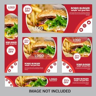 Conjunto de banners de comida web para restaurante de comida