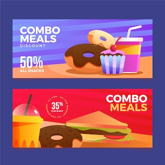 Conjunto de banners de comidas combo de comida rápida.