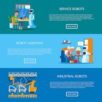 Conjunto de banners con concepto de automatización industrial, hogar, servicio