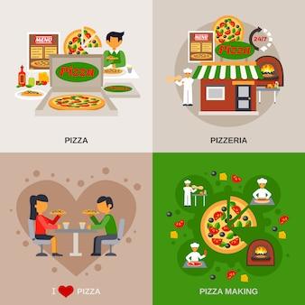 Conjunto de banners de concepto de pizzería