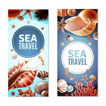 Conjunto de banners de conchas marinas