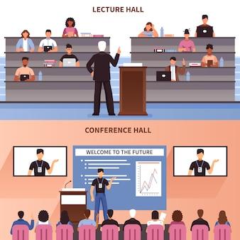 Conjunto de banners de conferencia y sala de conferencias