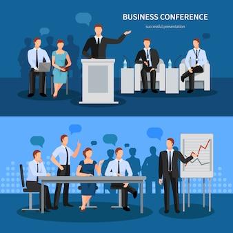 Conjunto de banners de conferencias de negocios