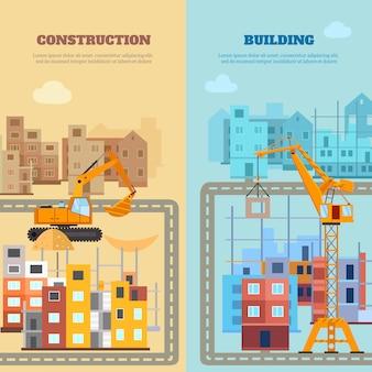 Conjunto de banners de construcción y construcción
