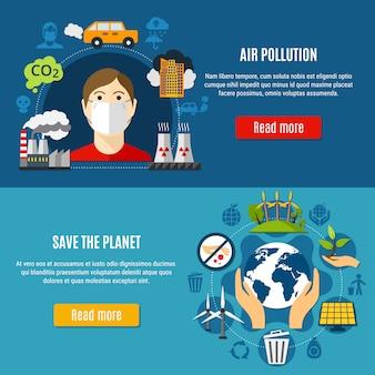 Conjunto de banners de contaminación