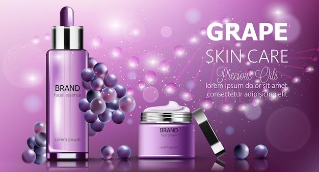 Conjunto de banners de cosméticos para el cuidado de la piel de uva.