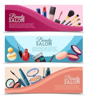 Conjunto de banners de cosméticos
