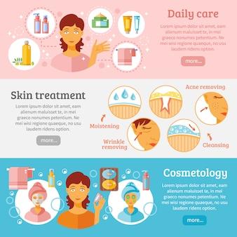 Conjunto de banners de cosmetología de piel