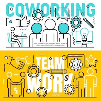 Conjunto de banners de coworking, estilo de contorno.