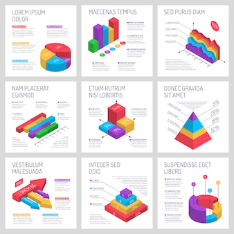 Conjunto de banners cuadrados de infografía