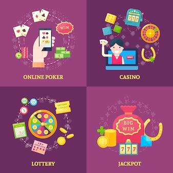 Conjunto de banners cuadrados de lotería