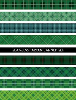 Conjunto de banners a cuadros de tartán sin costuras repetible horizontal y verticalmente.