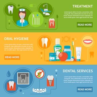 Conjunto de banners de cuidado dental