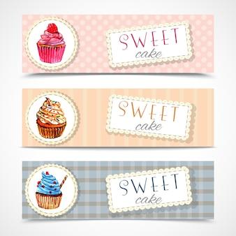 Conjunto de banners de cupcakes sweetshop