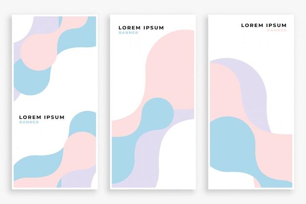 Conjunto de banners de curva de color pastel suave