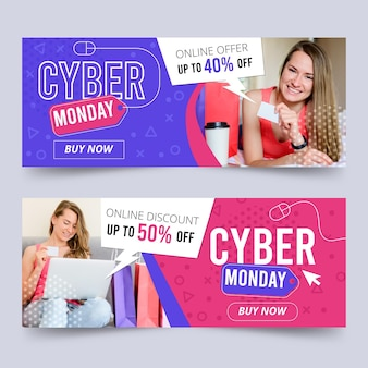 Conjunto de banners de cyber monday de diseño plano