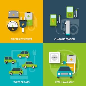 Conjunto de banners decorativos de coche eléctrico