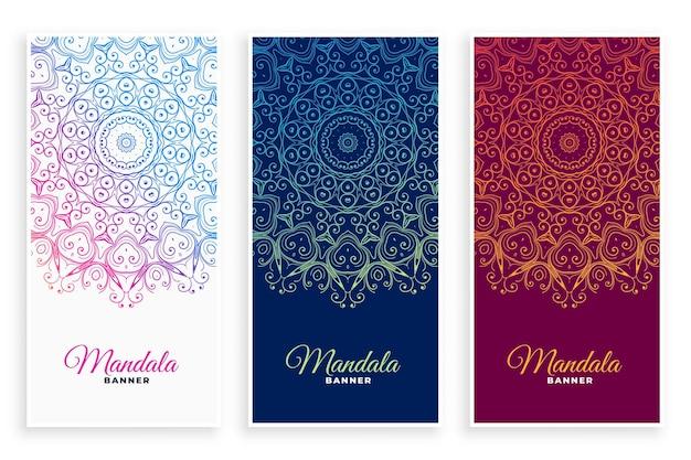 Conjunto de banners decorativos estilo mandala étnico