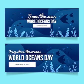 Conjunto de banners de degradado del día mundial de los océanos