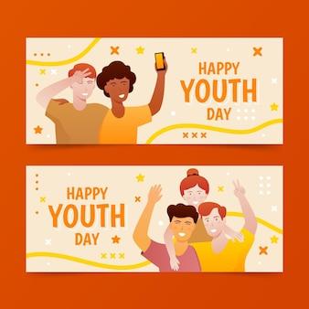 Conjunto de banners degradados del día internacional de la juventud.