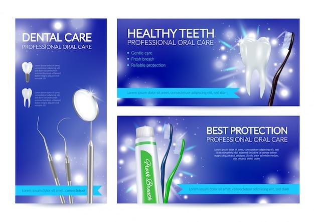 Conjunto de banners dentales de dientes sanos
