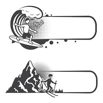Conjunto de banners de deportes extremos.