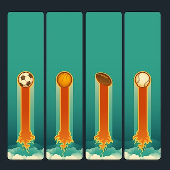 Conjunto de banners deportivos.