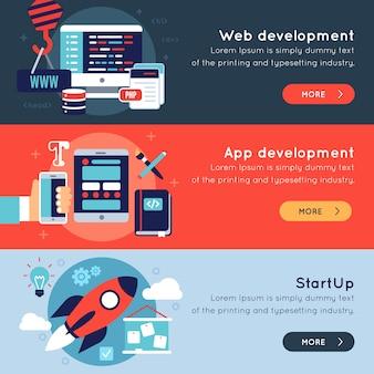 Conjunto de banners de desarrollo de programas