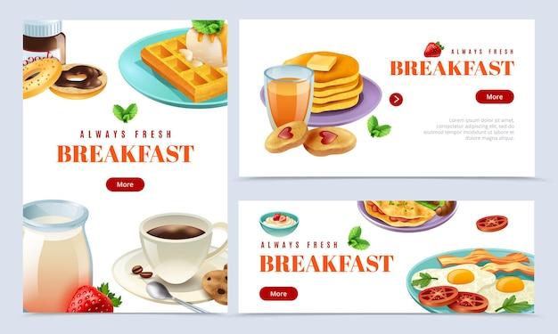 Conjunto de banners de desayuno siempre fresco