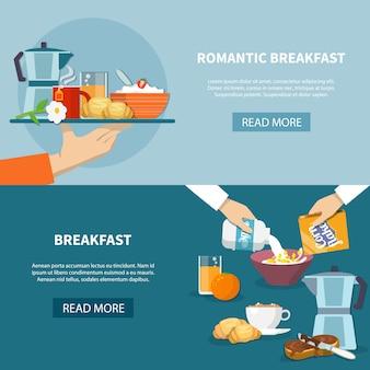 Conjunto de banners de desayuno