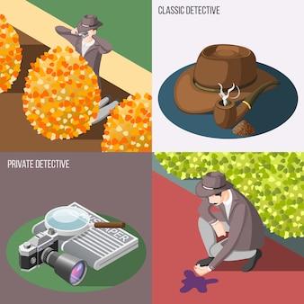 Conjunto de banners de detectives clásico y privado