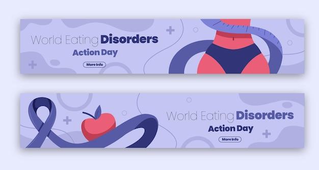 Conjunto de banners del día de acción del día de acción de los trastornos alimentarios del mundo plano orgánico
