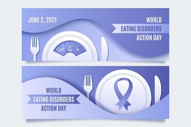 Conjunto de banners del día de acción de los trastornos alimentarios del mundo degradado