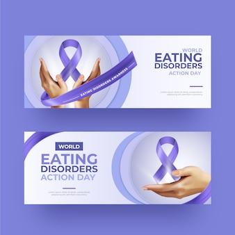 Conjunto de banners del día de acción de los trastornos alimentarios en el mundo realista.
