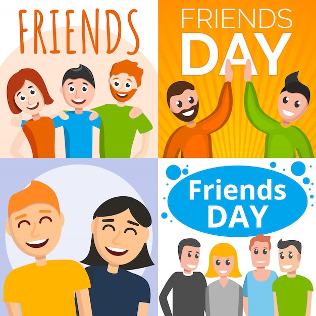Conjunto de banners día de amigos, estilo de dibujos animados