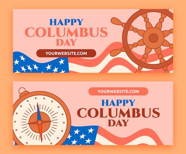 Conjunto de banners del día de colón planos dibujados a mano